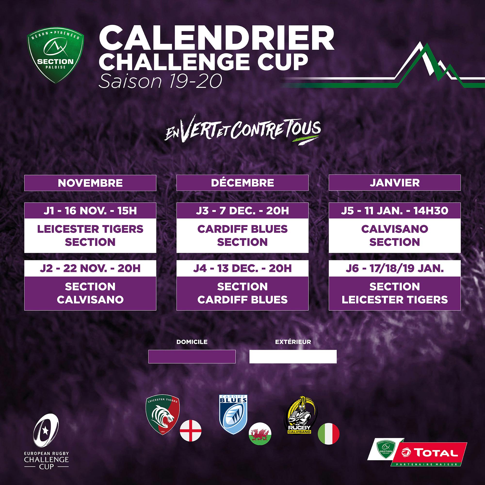 Calendrier Challenge Cup 2021 Challenge cup : le calendrier est connu !